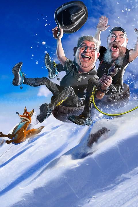 Bra däck på glidet - karikatyr på HP och Kenneth som åker ner för en snöbacke på däck