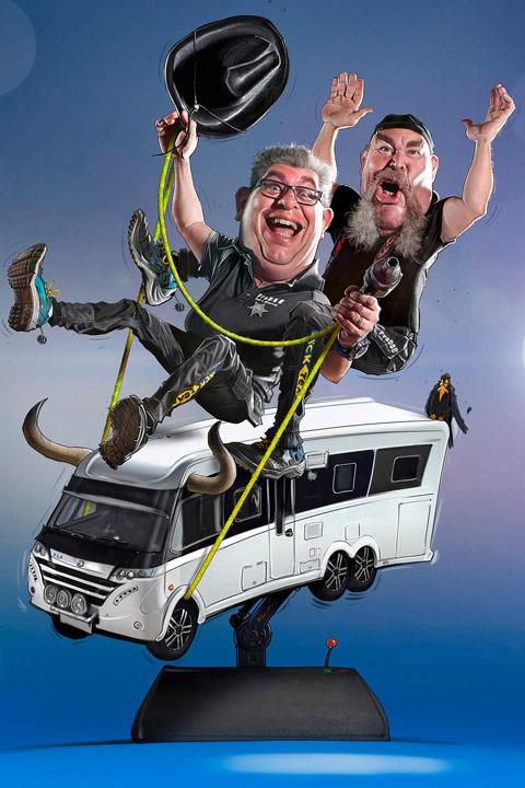HP och Kenneth på Prodob. Tecknad karikatyr på dem sittandes på en husbil i form av Rodeo.