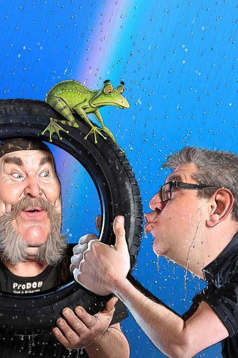 Vattenpuss av HP - karikatyr på HP och Kenneth på Prodob